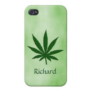 Hoja de la mala hierba personalizada iPhone 4/4S fundas