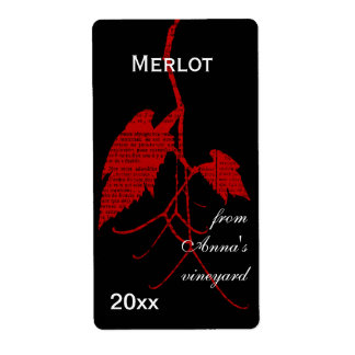 Hoja de la uva de vino rojo con la impresión etiquetas de envío