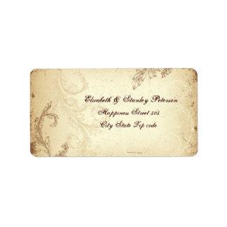 Hoja de la voluta del vintage en el boda beige, etiquetas de dirección
