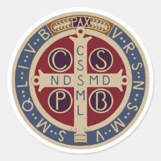 Hoja de los pegatinas de la medalla del St Benedi