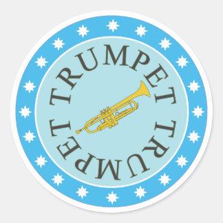 Hoja de los pegatinas de la trompeta de 6 etiqueta redonda