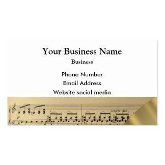 Hoja de música de los músicos tarjetas de visita