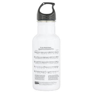 Hoja de música del himno nacional del himno botella de agua