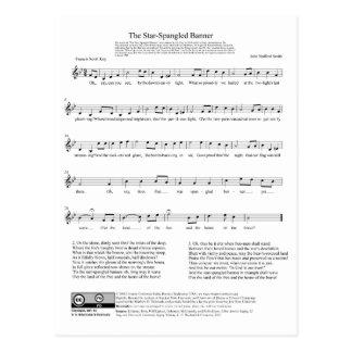 Hoja de música del himno nacional del himno postales