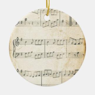Hoja de música del vintage adorno navideño redondo de cerámica