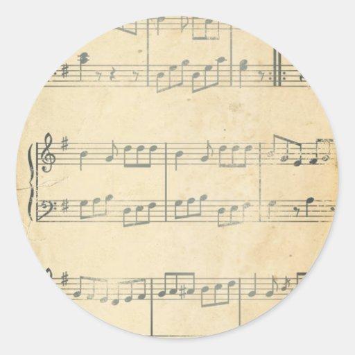 Hoja de música del vintage etiquetas redondas
