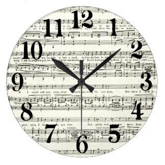 Hoja de música del vintage, notas musicales reloj redondo grande