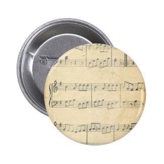 Hoja de música del vintage pins