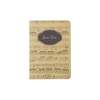Hoja de música del vintage porta pasaporte