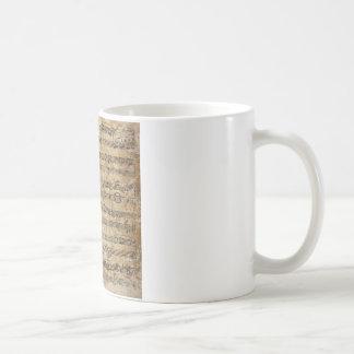 Hoja de música del vintage tazas de café
