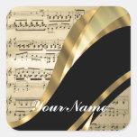 Hoja de música elegante colcomanias cuadradas
