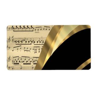 Hoja de música elegante etiqueta de envío