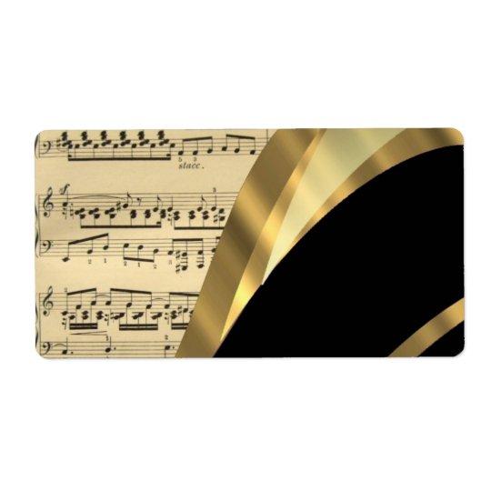 Hoja de música elegante etiquetas de envío