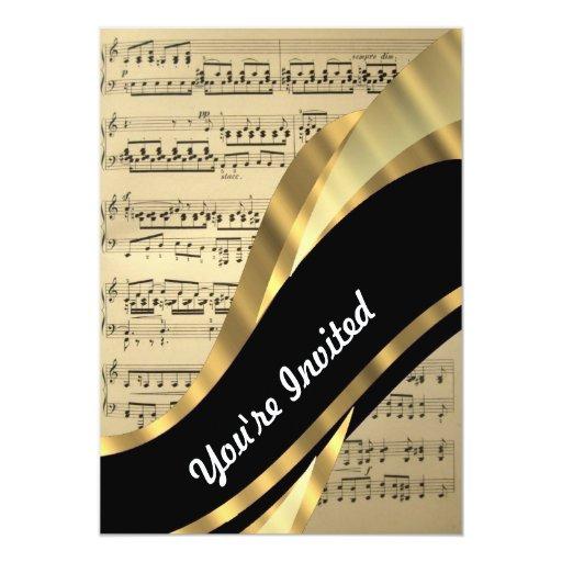 Hoja de música elegante invitación 12,7 x 17,8 cm