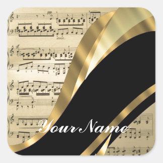 Hoja de música elegante pegatina cuadrada