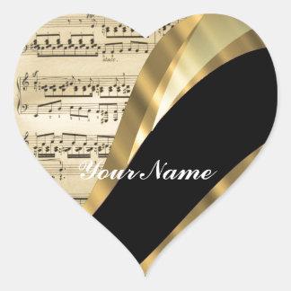 Hoja de música elegante pegatina en forma de corazón