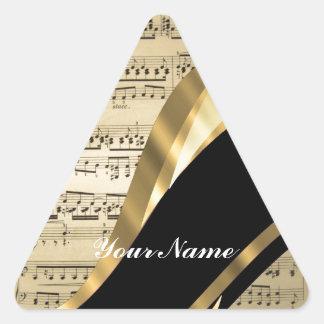 Hoja de música elegante pegatina triangular