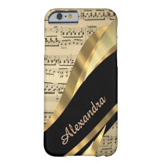 Hoja de música elegante personalizada funda de iPhone 6 barely there