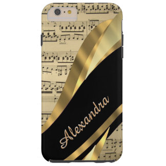 Hoja de música elegante personalizada funda de iPhone 6 plus tough