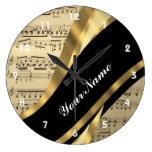 Hoja de música elegante relojes de pared