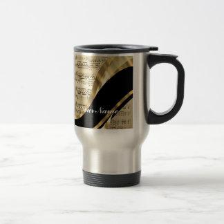 Hoja de música elegante taza de café