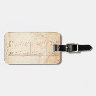 Hoja de música rosada del vintage etiquetas de equipaje