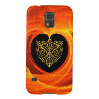 HOJA DE ORO, amarillo anaranjado negro Fundas De Galaxy S5
