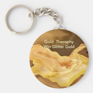 Hoja de oro - arte de la terapia del color oro llaveros personalizados