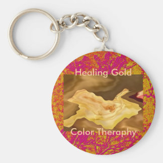 Hoja de oro - arte de la terapia del color oro llaveros