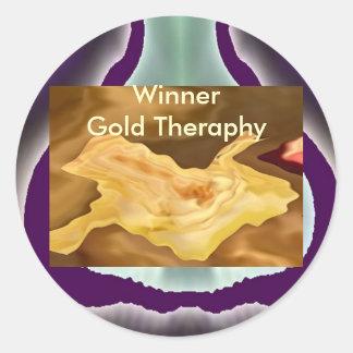 Hoja de oro - arte de la terapia del color oro pegatinas redondas