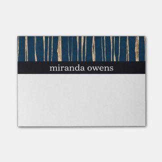 Hoja de oro azul y falsa elegante post-it® notas