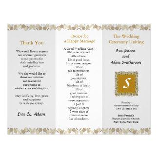 Hoja de oro de la carpeta del programa del boda tarjetón