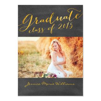 Hoja de oro de la fiesta de graduación el | de la invitación 12,7 x 17,8 cm
