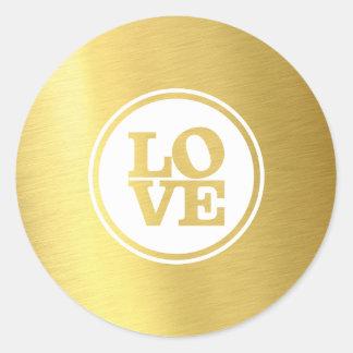 Hoja de oro de moda de la tipografía del punto del pegatina redonda