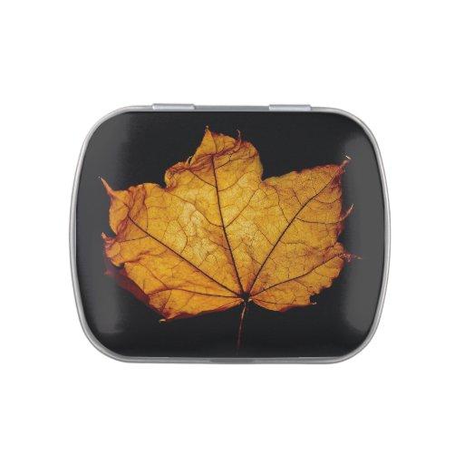 Hoja de oro del otoño jarrones de caramelos