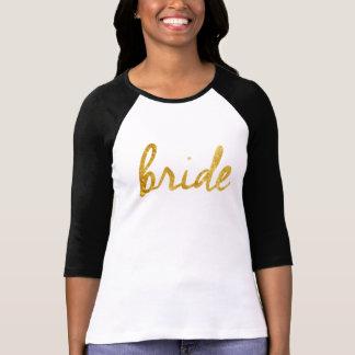 Hoja de oro deportiva de la camiseta de la novia playera