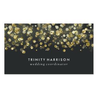 Hoja de oro elegante atractiva de las lentejuelas tarjetas de visita