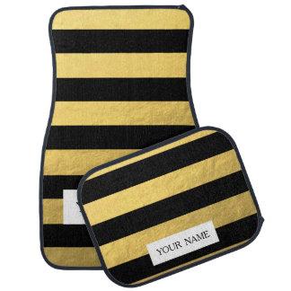 Hoja de oro elegante de las rayas negras impresa alfombrilla de coche