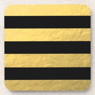 Hoja de oro elegante de las rayas negras impresa posavasos