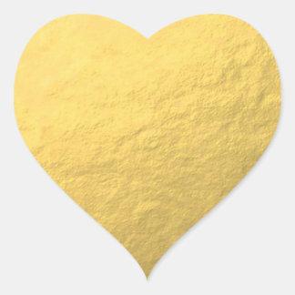 Hoja de oro elegante impresa pegatina en forma de corazón