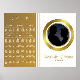 Hoja de oro elegante que casa el calendario 2016 póster