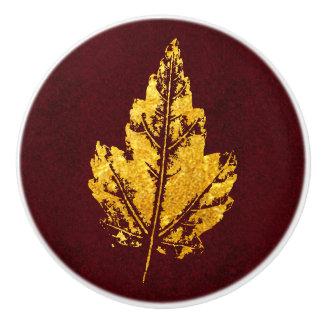 Hoja de oro en Borgoña - botón del gabinete Pomo De Cerámica