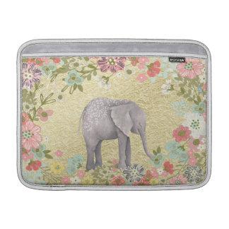 Hoja de oro floral del marco del elefante con fundas MacBook