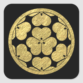 Hoja de oro japonesa del clan de Chosokabe lunes Calcomanías Cuadradass