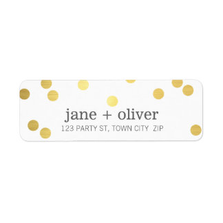 Hoja de oro juguetona linda de puntos del confeti etiquetas de remite
