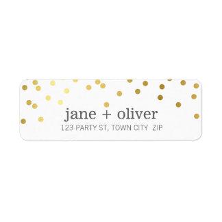 Hoja de oro linda de puntos del confeti de la etiqueta de remite