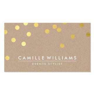 Hoja de oro linda moderna del modelo de punto del tarjetas de visita