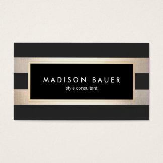 Hoja de oro negra y FALSA rayada elegante moderna Tarjetas De Visita