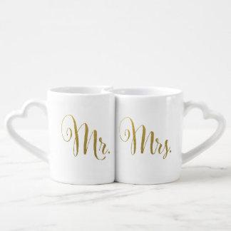 Hoja de oro su y la suya Sr. señora Typography Taza Para Parejas