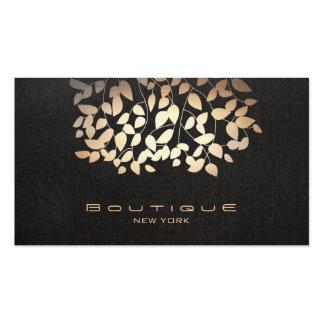 Hoja de oro y falso boutique de lino negro de la m tarjetas de negocios